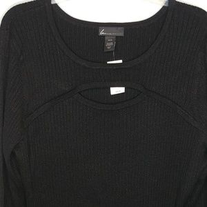 Lane Bryant Sweater 26 28 Plus Black Shimmer Metal